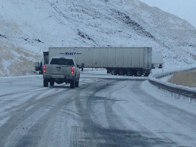 Traffic was blocked nearly two hours on U.S. Highway 95, White Bird Grade, Tuesday morning, Dec. 3, when a semi-truck and trailer jack-knifed on icy conditions.