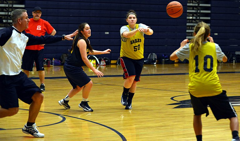 FUNDAMENTALS: Hood River Valley High School varsity girls baskeball players practice this week in preparation for their first game Friday at Sandy High School.