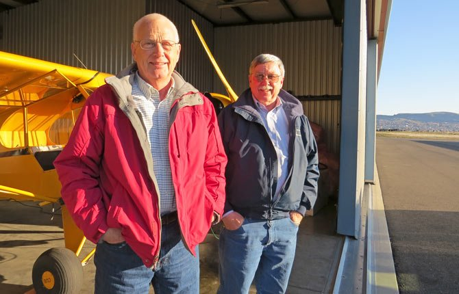 ROLF ANDERSON, left, and Chuck Covert, two members of Aeronautical Management, the company that oversees operations at the Columbia Gorge Regional Airport, are continually working on improvements to aid in economic development throughout the gorge.