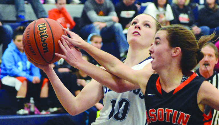 Grangeville's Hailey Sullivan drew a foul while attempting a layup on this play during a 51-32 GHS win over Asotin last Saturday afternoon, Dec. 7. Sullivan finished with 10 points.