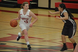 Hannah Kempf brings the ball up the floor for the Horizon girls.
