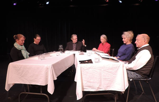 "A STAGED READING of ""Sweet and Sad"" will be performed Dec. 13 and 14 at The Dalles Civic Auditorium at 7:30 p.m. The cast, from left, includes Julie Jindal, Joe Garoutte, Tom Burns, Irene Fields, Brenda Hering, and Gary Young."