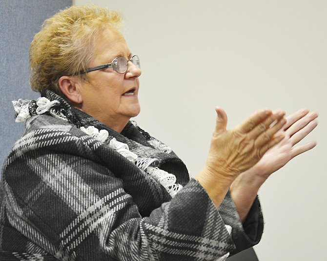 Former councilwoman Vera Zavala states her case for a quick appointment to the Mabton City Council near the close of last night's meeting.