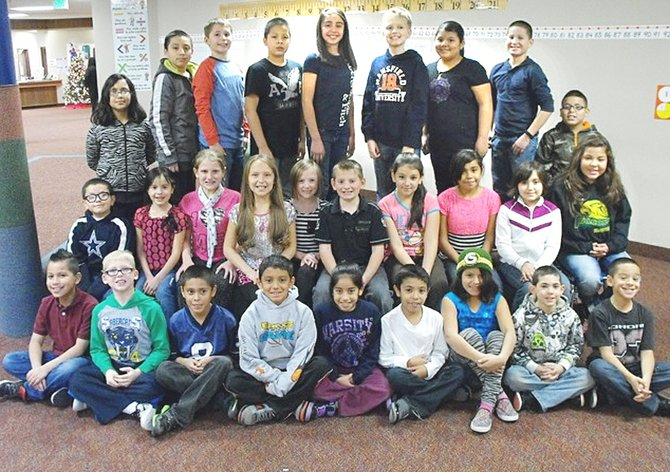 Sunnyside's Washington Elementary School third, fourth and fifth grade students who made outstanding reading efforts in the Accelerated Reader program for the month of November are (front row L-R) Ramon Adame, Titus Hazzard, Miguel A. Mendez, Brent Maldonado, Tania Tavira, Jorge Meraz, Alicia Rodriguez, Matthias Gatica and Fabian Gonzalez; (middle row L-R) Eric Garcia, Selene Rojas, Hailey Schlosser, Lily Bottineau, Mackenzie Chambers, Cannon Hauver, Mazuvi Madrigal, Susana Vargas, Lily Abonza and Jaylin Almaguer; (back row L-R) Gabriela Perez, Daniel Rosas, Ryker Hazzard, Cesar Roldan, Itzel Ramirez, Jacob Rice, Kassandra Rios, Austin Villanueva and Ivan Ruiz.