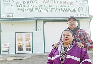 Marcelina and Gregorio Bustos of Mabton are excited to be operating their small engine repair business, Pedro Appliances, in their spacious new shop. The business is named after their oldest son, Pedro Bustos, who is a licensed electrician.