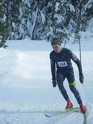 Juho Muhonen in action Satuday at 5K classic race in Bend. Muhonen, an exchange student from Finland, finished 2nd.