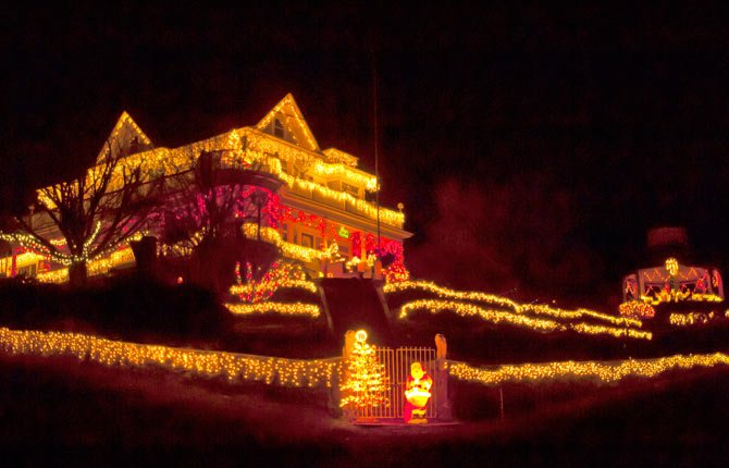 The Victorian House in Wasco, with gazebo and welcoming Santa, is one of the most decorated houses in the Mid-Columbia, located at the corner of Biggs and Davis streets. Sherman County also has another lighting attraction for visitors. File photo from 2013.
