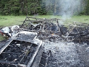 The remains of a single-engine aircraft that crashed shortly after takeoff on June 28, 2012, at the USFS Moose Creek airstrip east of Lowell. The pilot, Jahan Ashtiani of Coeur d'Alene, died in the crash.