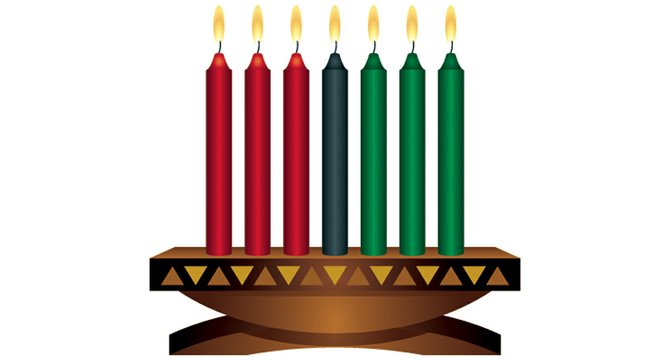 The celebration of Kwanzaa includes lighting a candle each night during the seven-day festival. Each candle represents one of seven Kwanzaa principles that include unity, self-determination, collective work and responsibility, collective economics, purpose, creativity and faith.