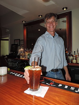 "ONE Dark and Stormy, coming up, in the able hands of Jim Dey of 3 Rivers Grill. The distinctive Jimmy's Bar sign lets people know ""there's a bar involved here,"" Jimmy said."