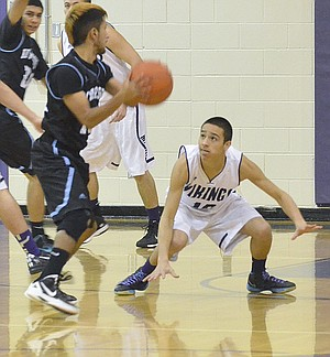 Mabton's Roy Zavala hunkers down on defense against Riverside last Friday.