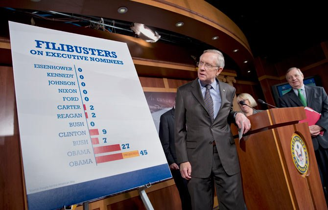 Senate Majority Leader Harry Reid of Nevada, center, with Sen. Patty Murray, D-Wash., and Senate Majority Whip Richard Durbin of Ill., at far right, defends the Senate Democrats' vote to weaken filibusters and make it harder for Republicans to block confirmation of the president's nominees for judges and other top posts during a news conference on Capitol Hill in Washington.