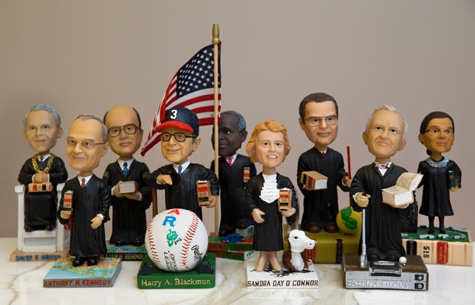 Bobblehead dolls are shown representing Supreme Court Justices, from left, David Souter, William Rehnquist, Antonin Scalia, and Ruth Ginsburg, in Washington. They are some of the rarest bobblehead dolls ever produced.