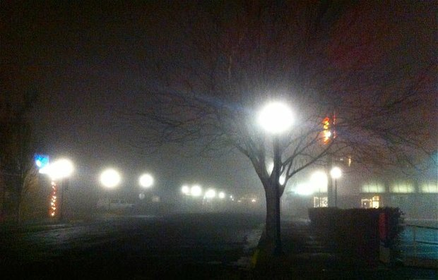 Fog downtown The Dalles