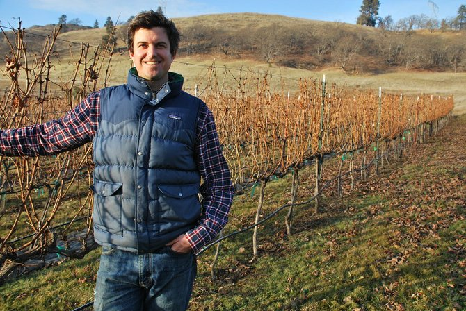 Luke Bradford, owner of COR Cellars, stands with some of the grapes planted at his vineyard in Lyle. COR was recently named Winery of the Year for 2013 by Stan Reitan, a wine critic for The Seattle Post Intelligencer. Bradford, who gets his grapes from across Washington and Oregon, said it was the 2009 Malbec grown in The Dalles that originally caught Reitan's eye.