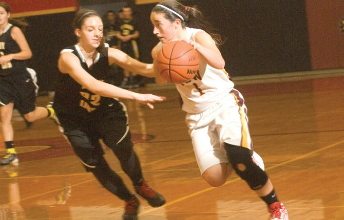 THE DALLES WAHTONKA freshman Kailin Hoylman dribbles past a defender in varsity play earlier this season. Staked by balanced scoring and stout defense, the No. 13 Eagle Indians jumped out to runs of 22-2 and 16-4 in opening half of play to cruise past Wilsonville by a 63-35 score for their fifth straight win.