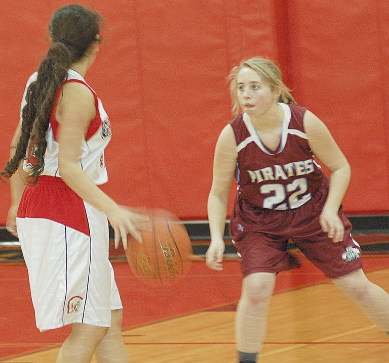 Bickleton freshman Hali O'Banion applies defensive pressure in last night's non-league game at Granger.