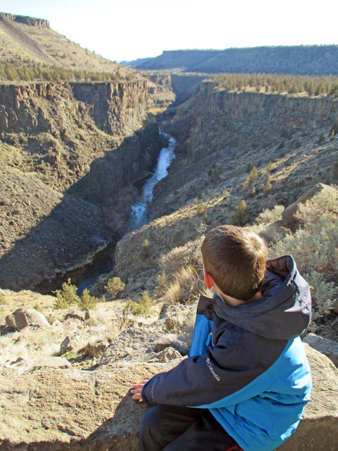 Mason Morical, 5, checks out the view of the Crooked River Gorge from the Opal Canyon Trail Jan. 3 in Jefferson. The Crooked River Gorge is a 300-feet-deep, 4-mile-long gorge that offers some of the most breath-taking desert scenery in Central Oregon.
