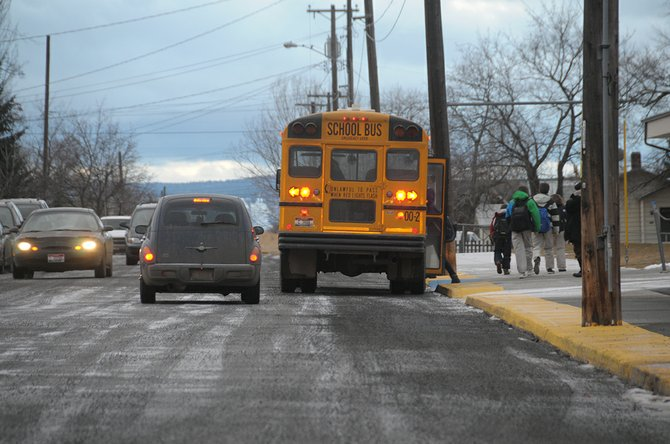 Traffic on Court Street becomes congested when both buses and parents use the street to drop off and pick up students. This photo shows that scenario Thursday morning, Jan. 9, before school. Grangeville Elementary Middle School principal Alica Holthaus is advising parents to not use Court Street but to drop off children at other locations including Idaho and South A streets.