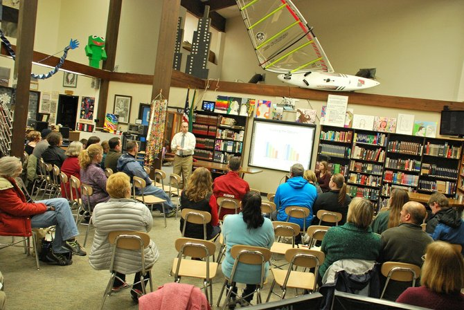 CHS Principal Troy Whittle gives a presentation to a group of parents on the proposed change to a five-period trimester schedule at the high school. The White Salmon Valley School District Board of Directors will vote on whether or not to change the schedule at CHS at their Jan. 23 meeting at 7 p.m. at the Whitson Elementary School Library.