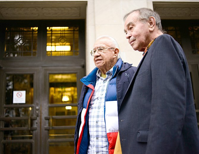 "Billy Frank Jr., left, and Hank Adams testified during a public hearing Tuesday on a bill that would allow American Indians to clear ""Fish Wars"" criminal records."