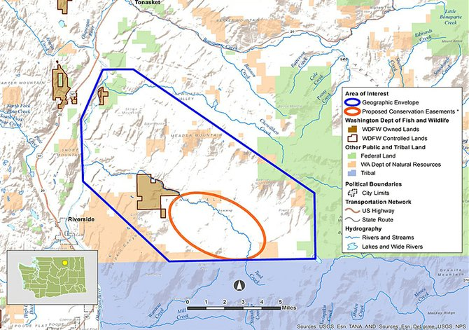 A state Department of Fish and Wildlife map shows that it plans to try to acquire conservation easements for a large portion of agricultural land in Tunk Valley.