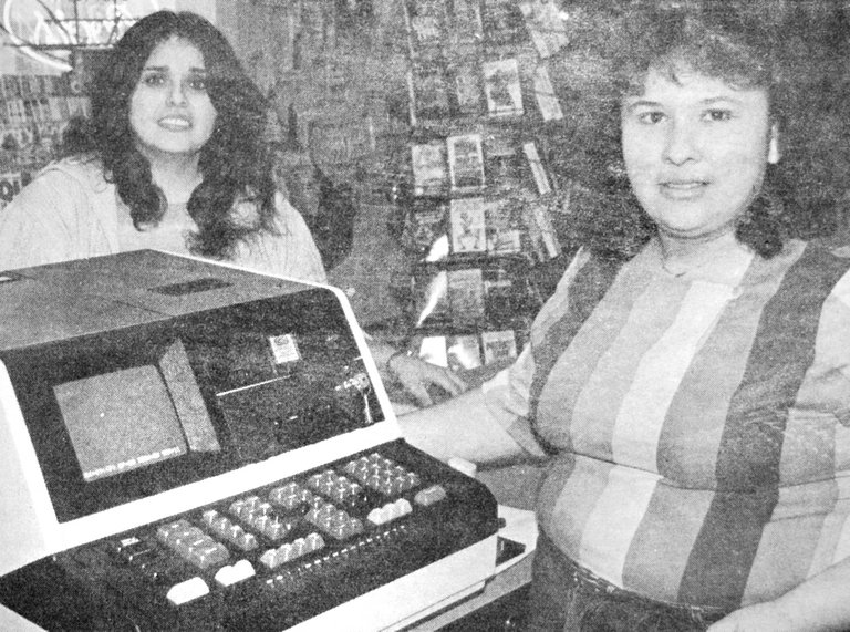 1984: Sylvia Rodriguez and Nelly Nunez (L-R) of Sunnyside's Valley View Market were prepared to begin selling Washington State Lottery tickets, using online computers.