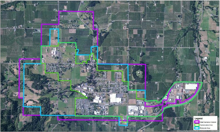 Three areas are being considered for inclusion in the Odell unincorporated community boundary. The purple, green, and blue lines in this aerial photo represent the three areas currently under consideration.