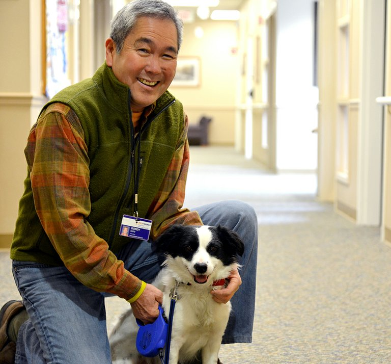 Gordy Sato and his pooch, Zoey, visit Brookside Manor, where they meet Phyllis Bowers on their way to meet with residents.