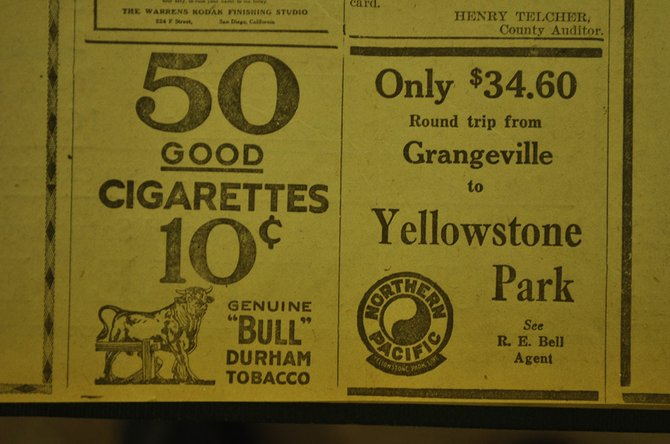 Advertisements in a 1923 edition of the Idaho County Free Press.
