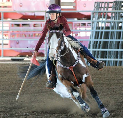 TDW senior Carsen Cordell takes her try at Canadian Flags in a practice session at the Fort Dalles Riders Club in The Dalles. Cordell is a four-year returner who headlines a group of 11 participants for advisor, Debi Ferrer.