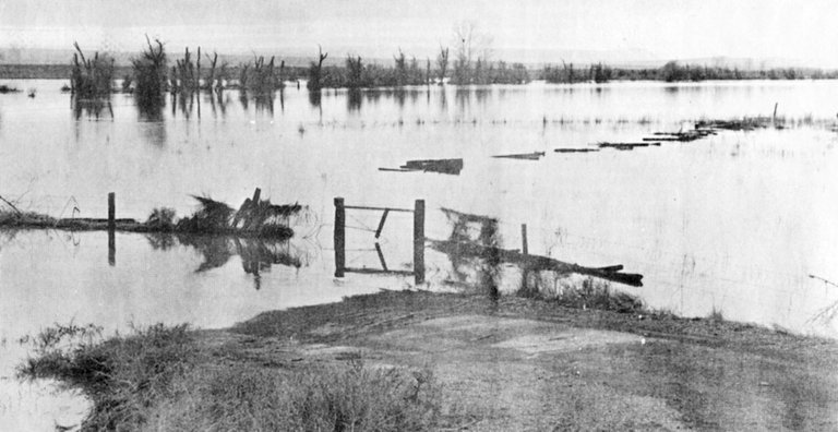1974: Flooding in the Yakima River caused an estimated $16 million damage throughout Yakima Valley. In this photo, the Yakima River has flooded its banks near Mabton-Sunnyside Highway. The flood was considered the worst in 36 years.