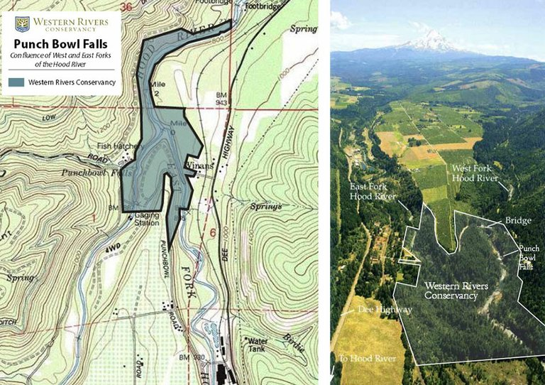 Western Rivers Conservancy owns 102 acres along Punchbowl Falls near Dee that it wishes to sell to Hood River County for development as a public park. At left, a map, with north at the top, shows the land WRC owns. The photo at right is an aerial view, looking south, of the same parcel.