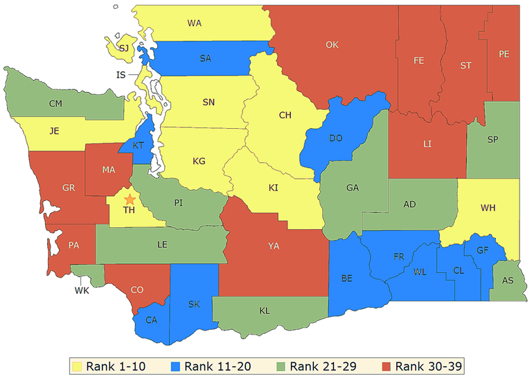 The map shows where the county's ranked in 2013 for cases of Chlamydia.