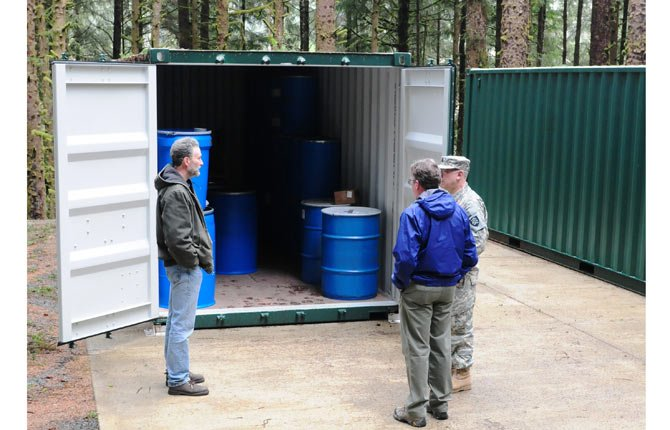 Barrels inside tsunami preparedness containers in Cannon Beach contain emergency items for local residents. The containers include family cache items, medical, administrative, and tool chest support containers as well as tourist, employee and visitor kits. The containers sit at approximately 100 feet, 20 feet above what earthquake experts believe to be the maximum tsunami inundation zone in Cannon Beach and other areas along the Oregon Coast.