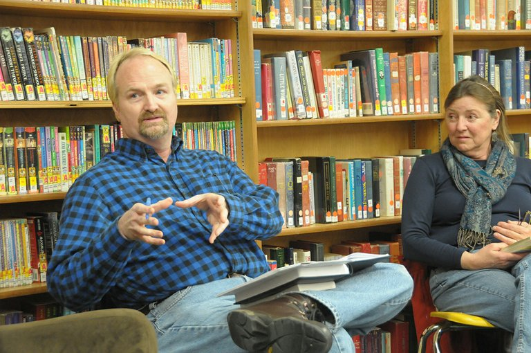Steve Barrett of Boise State University talks with those attending the Let's Talk About It book program at Grangeville Centennial Library Jan. 21. To his right is attendee Michelle Perdue of Grangeville.