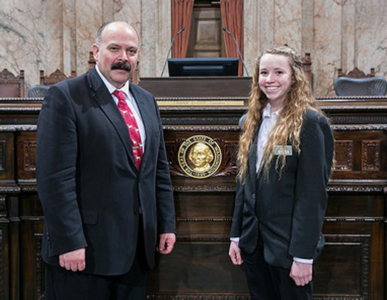 Sophie Allard, 14, of Colbert, served as a page for Rep. Joel Kretz, R-Wauconda, during the first week of the legislative session in Olympia.