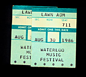 Tickets from Pete's 1986 Waterloo Music Festival show. (One's mine, the other must be my mom's!)