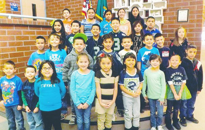 Mabton's Artz-Fox Elementary School students of the month for January as provided by school staff are (front row L-R) Francisco Parulkar, Jason Mejia, Anahi Vasquez, Azulemi Olivares, Melanie Verdin, Kiara Torres, Kierrah Roettger, Trinity Barajas and Gabriel Arriaga; (second row L-R) Alfredo Cruz, Maria Trujillo, Fabian Virgin, Marlen Diaz, Rahul Parulkar, Jonathan Espinoza, Manuel Birueta and Hannah Roy; (third row L-R) Mercedes Becerra, Izaak Benavides, Leo Calzada, Jesus Carreon, Trinity Sanchez and Oscar Jimenez; (back row L-R) Alexis Galarza, Angela Mendoza, Yaricsa Castaneda, Sofia Salgado and Michelle Espinoza. Not pictured is David Arriaga.