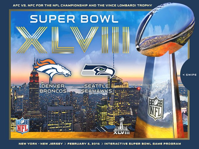 Former AFC West rivals Seattle and Denver will clash in Super Bowl XLVIII, as depicted in the cover of the NFL's official interactive program.