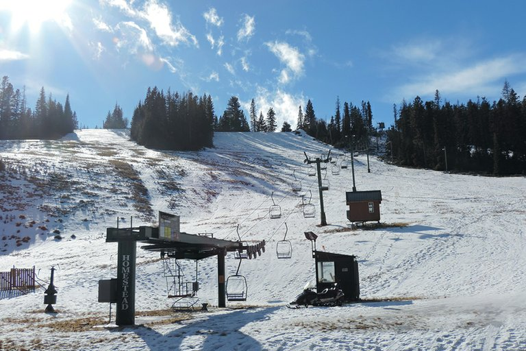 EMPTY SLOPES and lifts at Cooper Spur south of Parkdale await snowy weather, and the people it would bring.