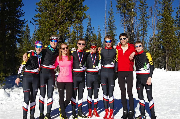 TEACUP NORDIC racers (also HRVHS nordic team members) competed last weekend in the Sunnyside Pursuit Classic.The group of (from left) Valerie Fischer, Nils Engbersen, Lauren Robinson, Sam Wiley, Juho Muhonen, Daniel Fischer, Mason McDowell and Jesse Wiley.