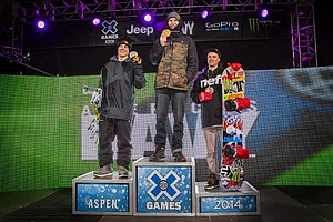 DYLAN THOMPSON (right) stands on the podium with Bode Merrill and Dan Brisse at the 2014 X-Games.
