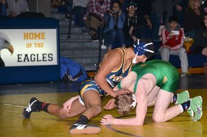 Junior Rojas  in action against Pendleton opponents Thursday night. Rojas won his match.