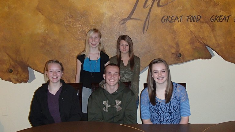 Idaho County 4-H members participating in Know Your Government are (back row standing, L-R)  Sydney Andrews and Hailey Williams; and (front row seated, L-R) Kortney Sims, Mitchel Nuxoll and Rachel Kelley.