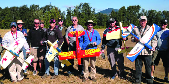Members of the Columbia Gorge Aeromodelers, a local radio-con-trolled model airplane flying club, are pictured here during the club's 2012 Fall Equinox Fun-Fly event held at Barrett Park. CGA has put forth a proposal to Hood River Valley Parks and Recreation to de-velop a model plane airstrip and other facilities at Barrett Park.