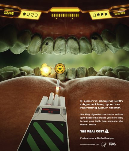 "Food and Drug Administration ad shows the federal agency's new ad campaign featuring yellow teeth to show the costs associated with cigarette smoking. The federal agency said today it is launching a $115 million multimedia education campaign called ""The Real Cost"" that's aimed at stopping teenagers from smoking and encouraging them to quit."