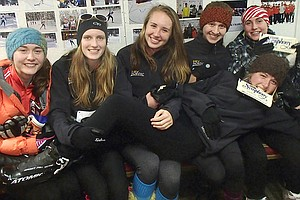HAPPY GIRLS: Delia Dolan, Terri Hewitt, Lauren Robinson, Denali Emmons, Daisy Dolan and Miranda Starr enjoy a moment together during the weekend's racing action at Mt. Hood Meadows Nordic.
