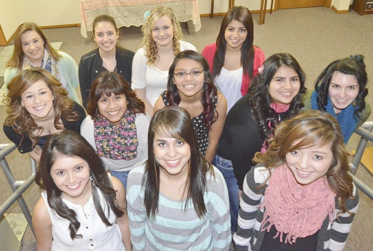These 12 young ladies are vying for the 2014-15 Miss Grandview title. They include (front L-R) Elizabeth Arredondo, Morgan Mendoza and Cecilia Coronado; (middle L-R) Kylie Serl, Adilene Pineda, Griselda Orduno, Angelica Rodriguez and Allie Harrington; (back L-R) Taylor Colson, Melisa Ramos, Lecie Owens and Marissa Garza. The Miss Grandview Pageant will take place at Grandview Middle School on Saturday, April 12, at 7 p.m.