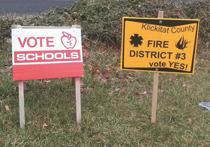 Political signs posted throughout the area remind voters of upcoming elections. The last day to cast a ballot for the White Salmon Valley School District and Klickitat County Fire District No. 3 levy measures is Tuesday, Feb. 11.